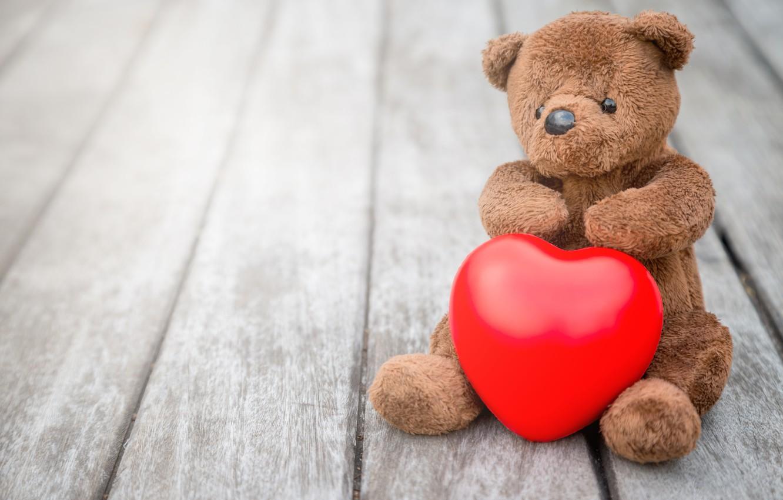 Photo wallpaper love, heart, bear, love, bear, heart, wood, romantic, teddy, cute