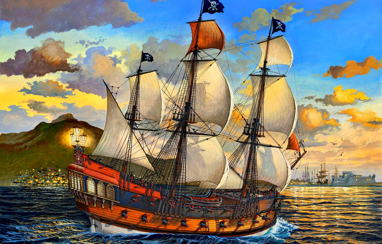 Photo wallpaper sea, figure, ship, sails, pirates, Jolly Roger, Sailing