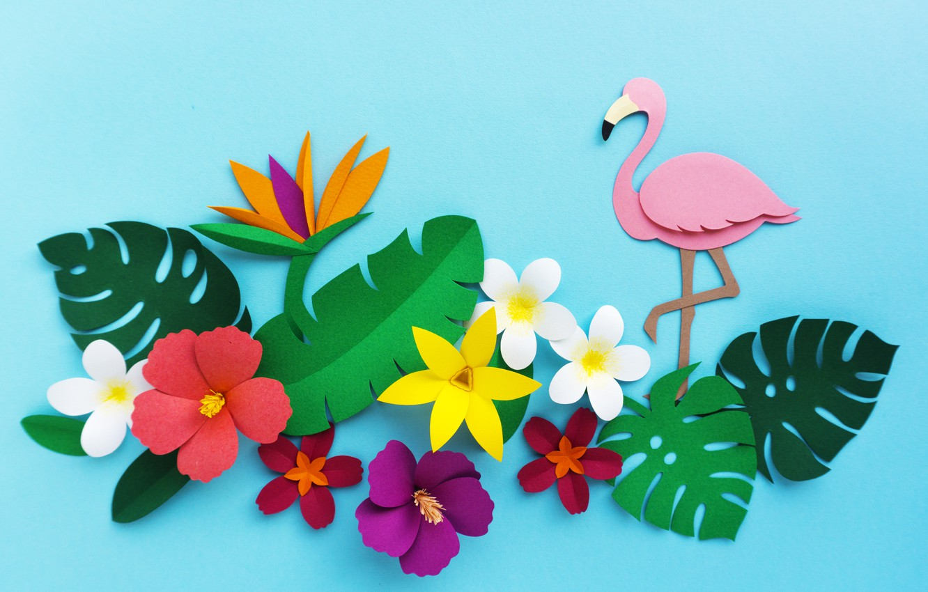 Photo wallpaper flowers, rendering, pattern, colorful, Flamingo, flowers, composition, rendering, paper, composition, floral