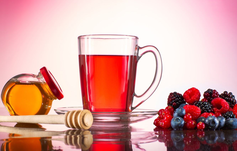 Photo wallpaper berries, background, tea, mug, honey, jar
