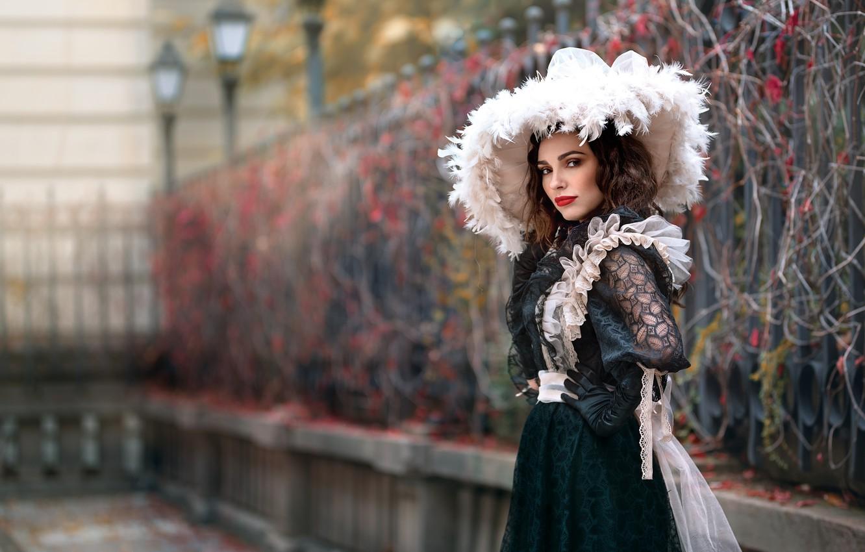 Photo wallpaper girl, hat, dress, bokeh, Tanya Markova