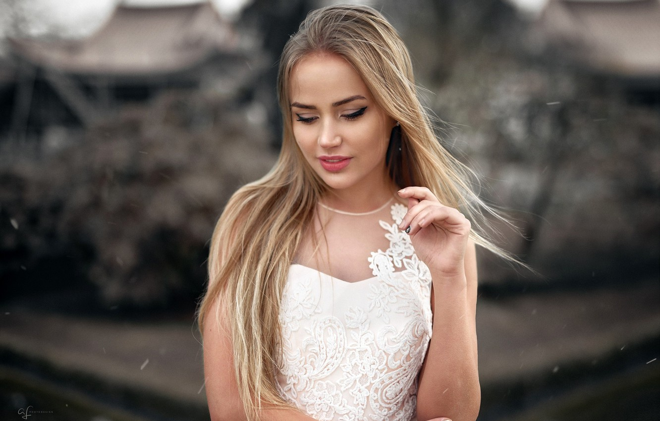 Photo wallpaper pose, background, model, portrait, makeup, dress, hairstyle, blonde, beauty, is, in white, bokeh, Mary Jane, …