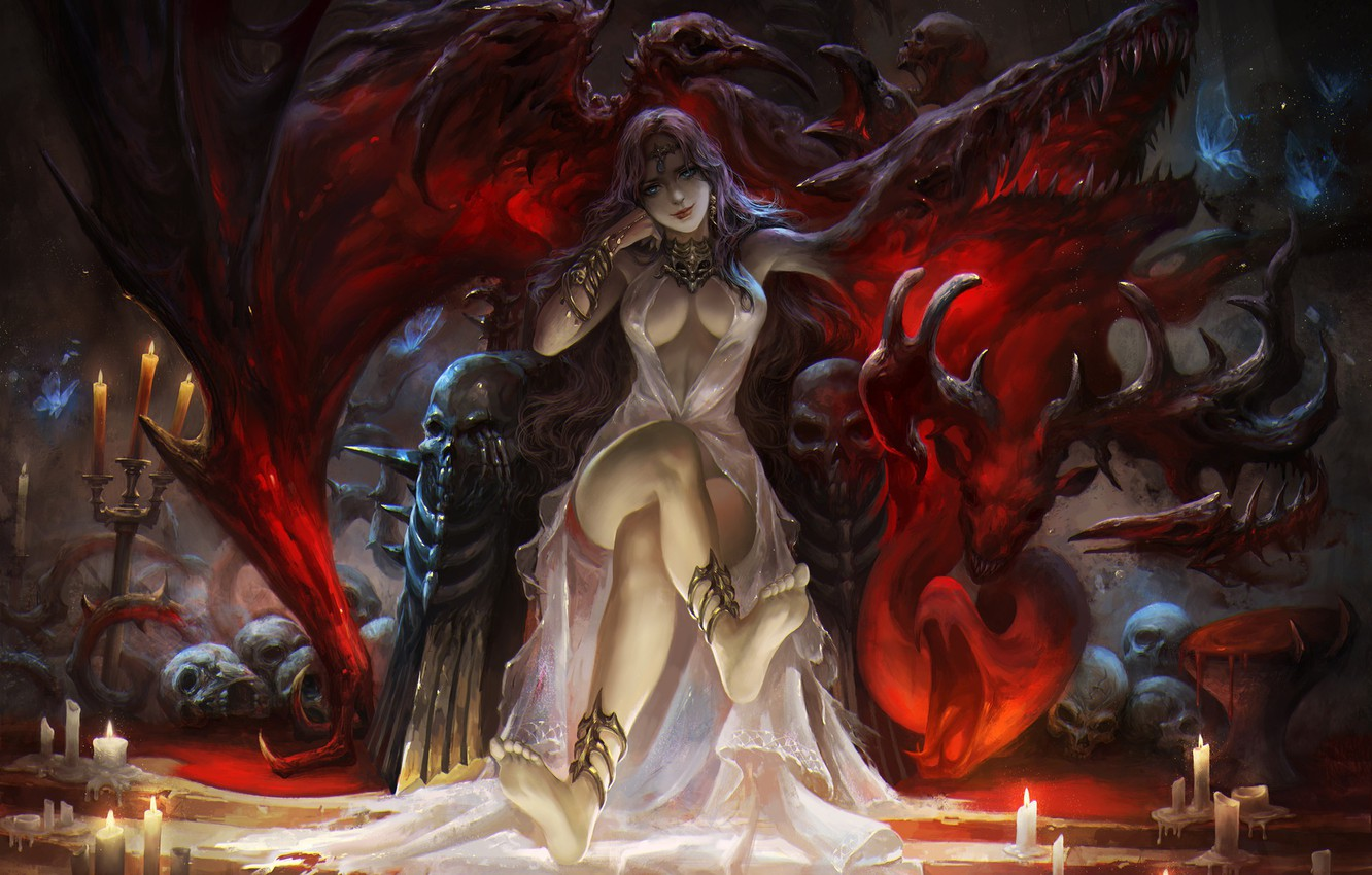 Photo wallpaper look, pose, candles, fantasy, art, skull, demoness, the throne, the legs