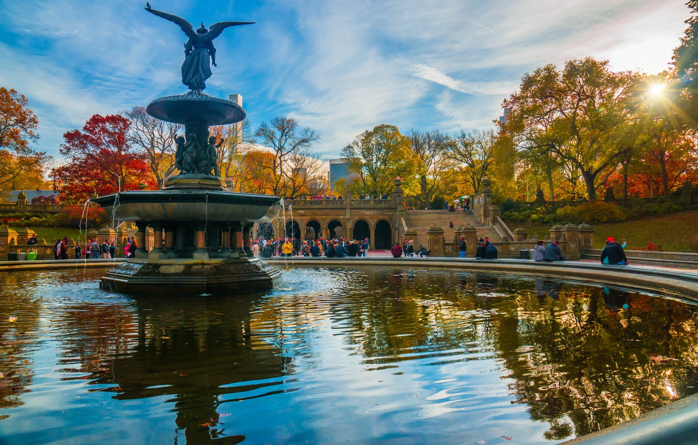 Photo wallpaper autumn, the sun, trees, the city, New York, fountain, USA, sculpture, Central Park