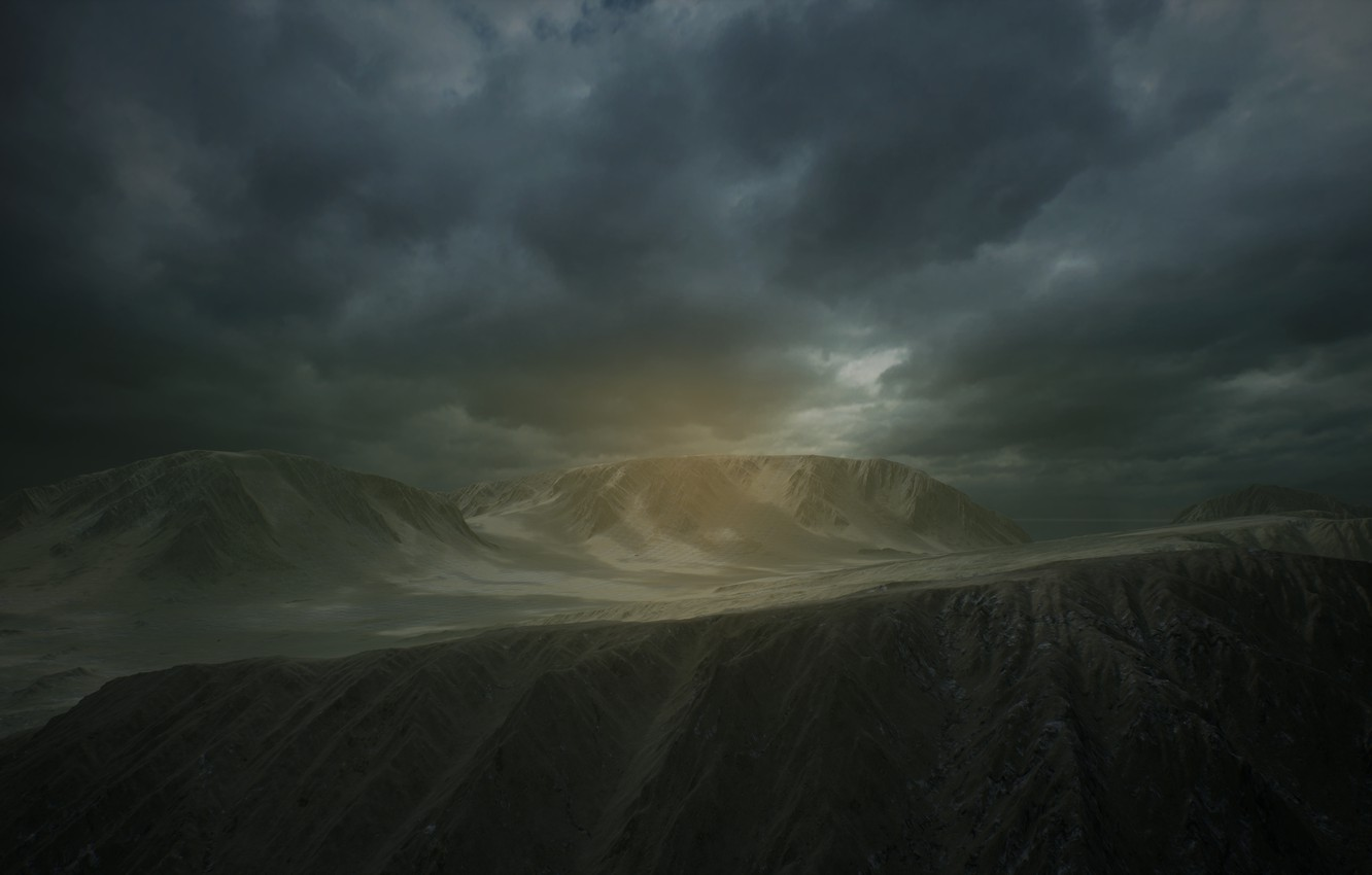 Photo wallpaper clouds, rays, mountains, clouds, fog, rock, landscape, alien, clouds, rays, fog, rendering, Unreal engine 4, …