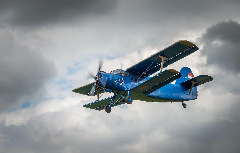 Photo wallpaper clouds, the plane, maize, legend, Antonov, biplane, An-2