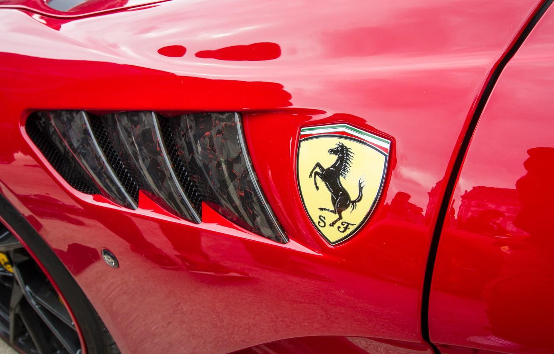 Photo wallpaper red, wing, Ferrari, emblem