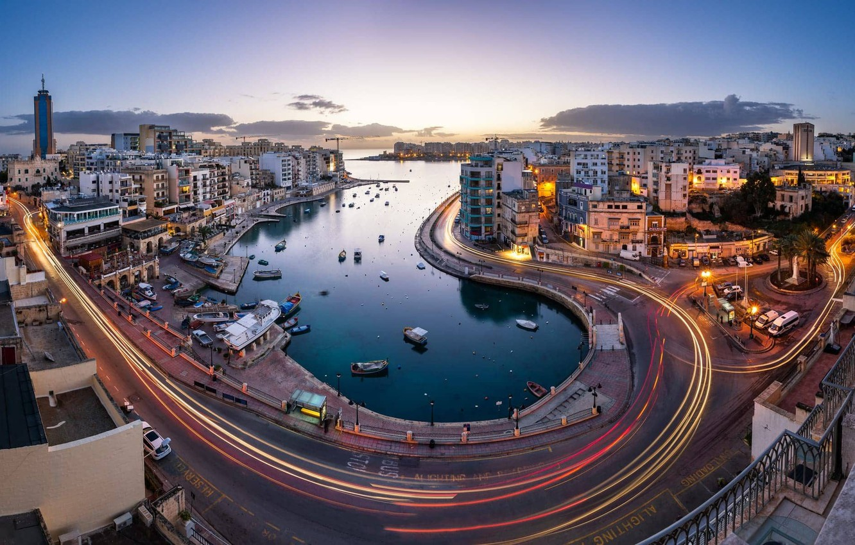 Photo wallpaper road, lights, home, the evening, Malta