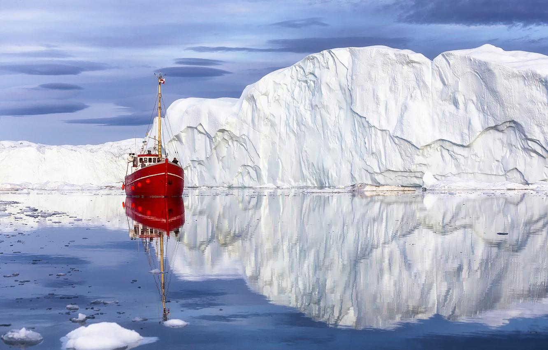 Photo wallpaper sea, landscape, nature, reflection, iceberg, boat, floe, Greenland, Disko Bay, Disko Bay