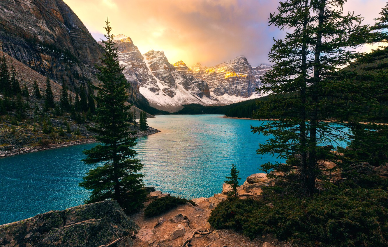 Wallpaper Trees Mountains Lake Ate Canada Albert Banff