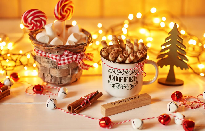 Photo wallpaper sticks, Christmas, Cup, cinnamon, decor, caramel, marshmallows