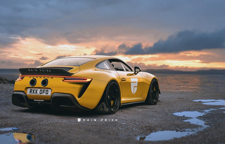 Photo wallpaper sunset, 911, Porsche, GT3, art, Rain Prisk