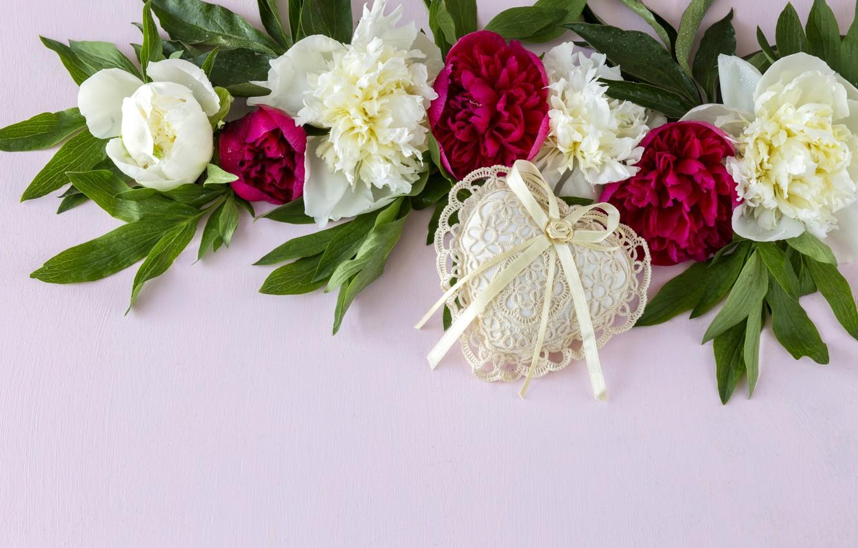 Photo wallpaper flowers, heart, white, pink, flowers, romantic, hearts, peonies, peonies