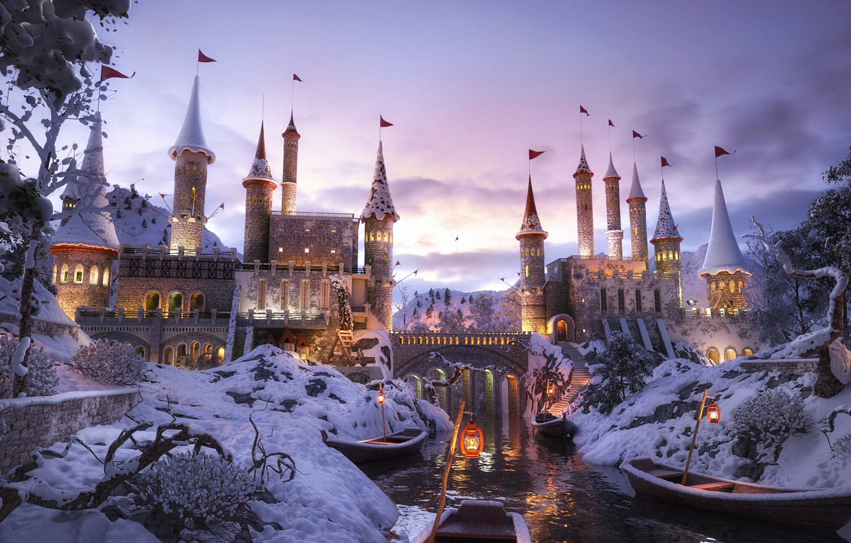 Photo wallpaper fantasy, river, sky, trees, winter, clouds, snow, Castle, digital art, boats, artwork, fantasy art, lanterns, …