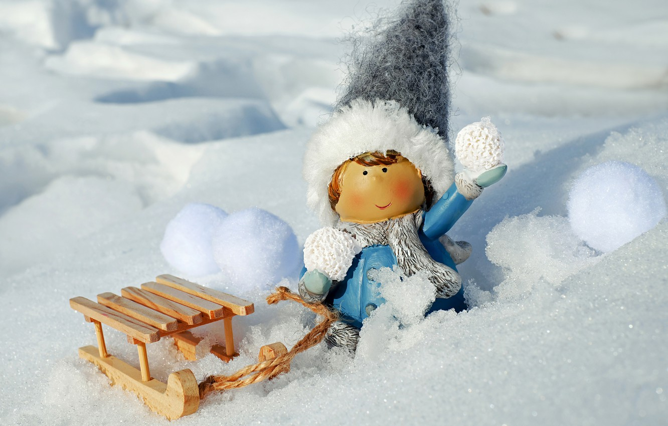 Photo wallpaper photo, Winter, Snow, Toy, Hat, Girl, Sleigh