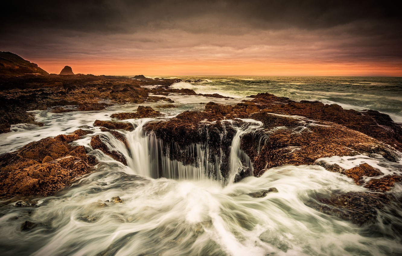 Photo wallpaper Pacific Ocean, Oregon Coast, Thor's Well, blow hole