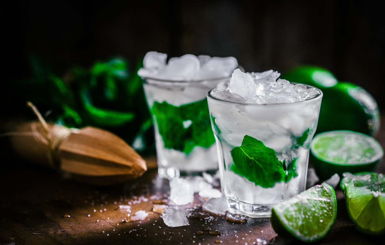 Photo wallpaper leaves, ice, lime, glasses, drink, citrus, mint, Mojito