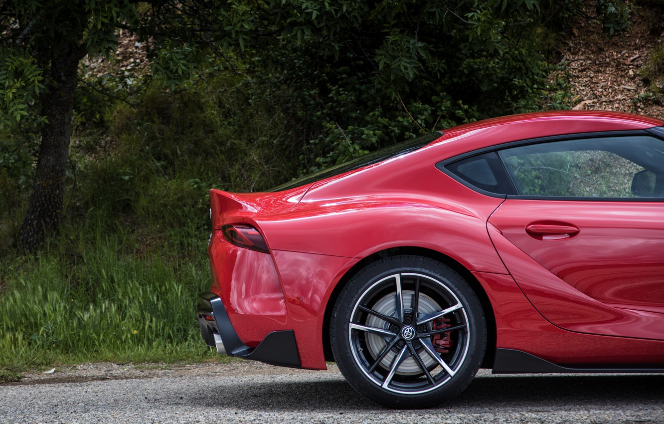 Photo wallpaper coupe, plants, spoiler, Toyota, Supra, the rear part, the fifth generation, mk5, double, 2019, GR …