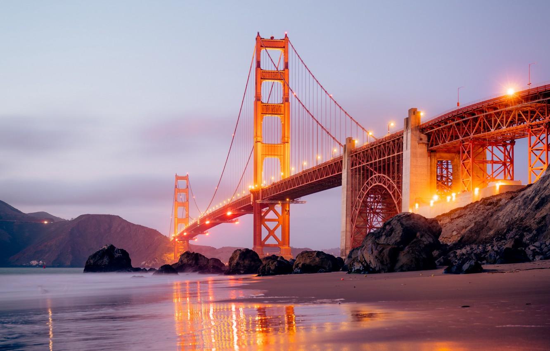 Photo wallpaper city, lights, USA, beach, twilight, sea, ocean, bridge, sunset, California, rocks, landscapes, San Francisco, fog, …