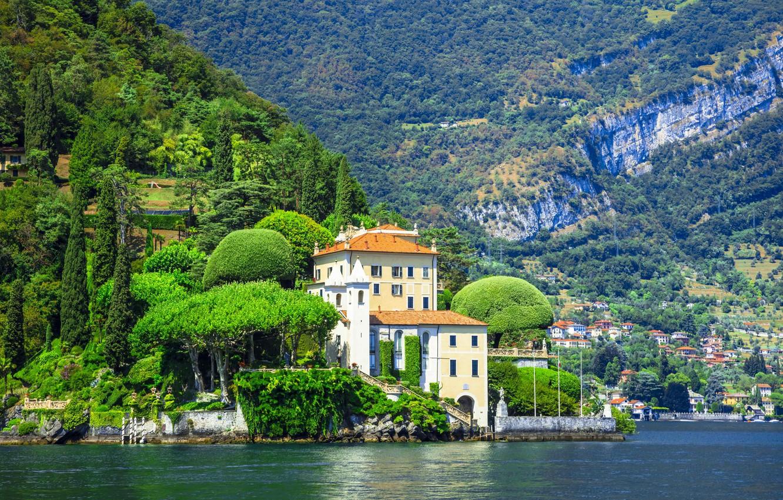 Photo wallpaper mountains, lake, Villa, Italy, Como, Lenno, Villa del Balbianello