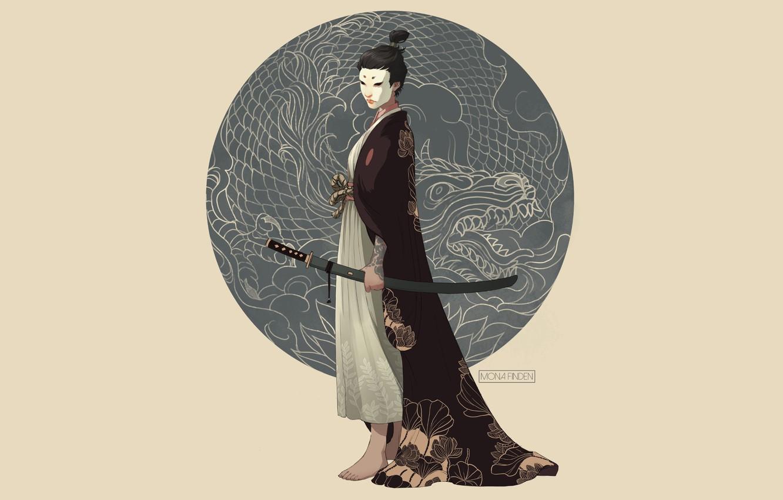 Photo wallpaper sword, fantasy, minimalism, weapon, katana, dragon, samurai, digital art, artwork, mask, fantasy art, kimono, illustration, …