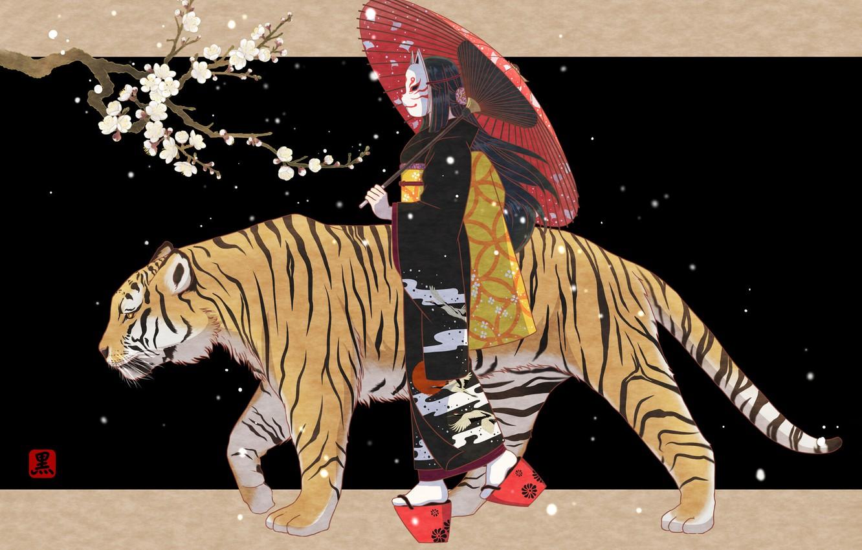 Photo wallpaper Girl, Tiger, Sakura, Girl, Umbrella, Mask, Art, Art, Sakura, Tiger, Umbrella, Mask, John Read, Sanpo, …