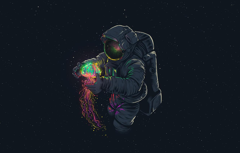 Photo wallpaper Figure, Medusa, Astronaut, Gloves, Helmet, Astronaut