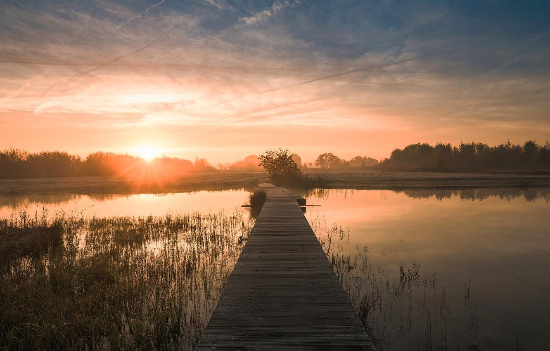 Photo wallpaper the sky, water, bridge, nature, river, dawn, morning, Netherlands