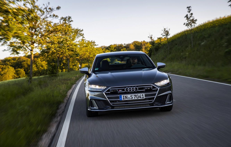 Photo wallpaper Audi, front, roadside, Audi A7, 2019, dark gray, S7 Sportback