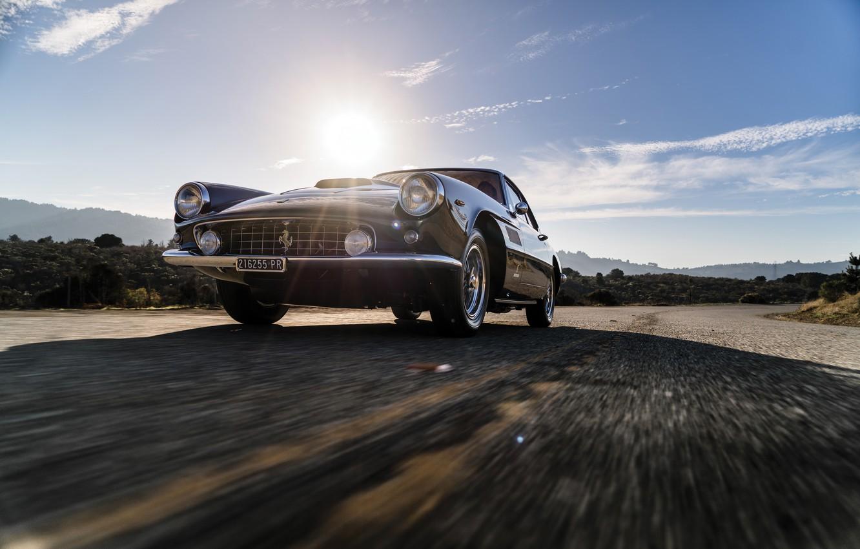 Photo wallpaper Road, Bumper, Ferrari, Lights, Classic, Chrome, Classic car, Icon, Grille, Ferrari 400 Superamerica, The Short …