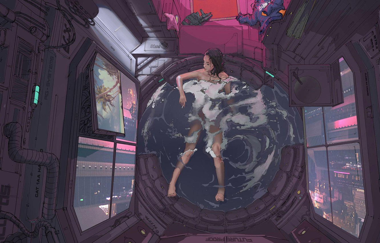Photo wallpaper Girl, Figure, Bathroom, Art, Klaus, Cyber, Cyberpunk, Klaus Wittmann, Wittmann