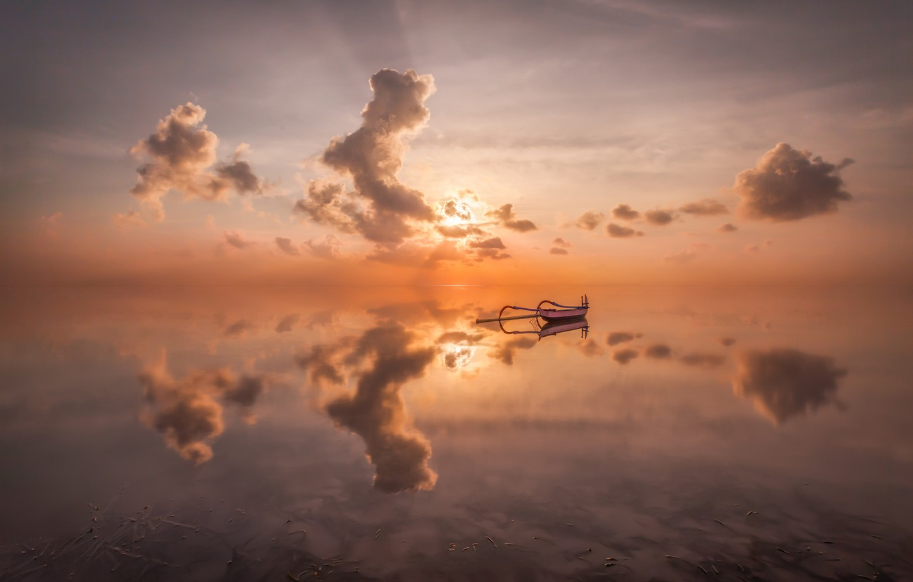 Photo wallpaper sea, clouds, sunset, reflection, boat, sea, sunset, clouds, reflection, boat, Anton Sadomov