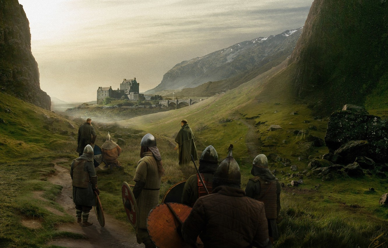 Photo wallpaper Castle, People, Knights, War, Concept Art, Outlander, The middle ages, Matte Painting, Takeshi Yoshida, by …