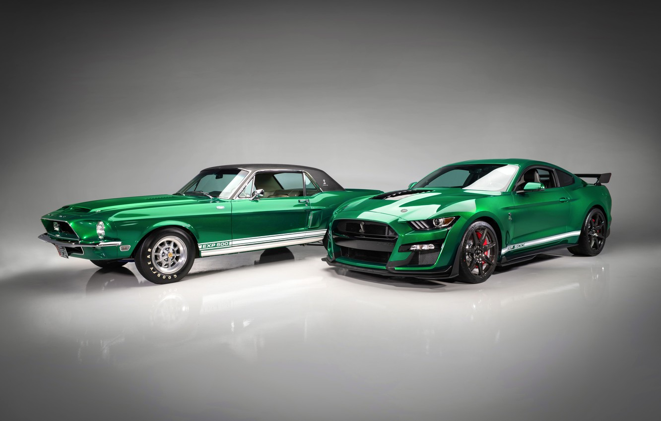 Photo wallpaper Mustang, Ford, Shelby, GT500, pair, 1968, 2020, Green Hornet, EXP 500