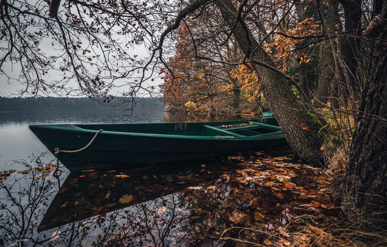 Photo wallpaper lake, shore, boat