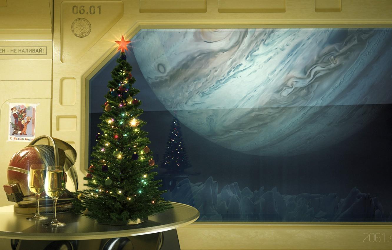 Photo wallpaper space, fiction, mood, holiday, glass, art, New year, herringbone, Alexander Ovcharenko, New Year wallpaper for …