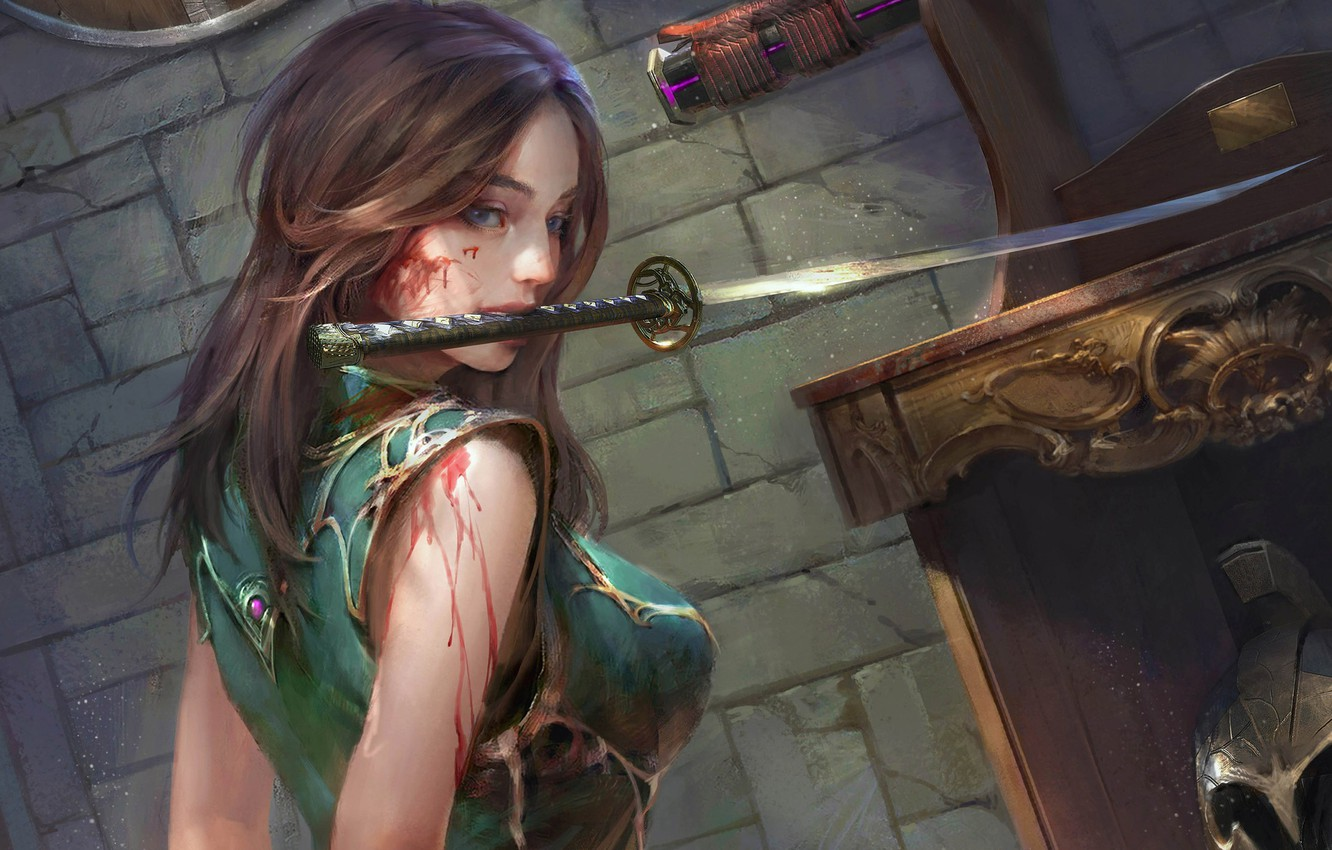Photo wallpaper look, girl, weapons, blood, fantasy, art