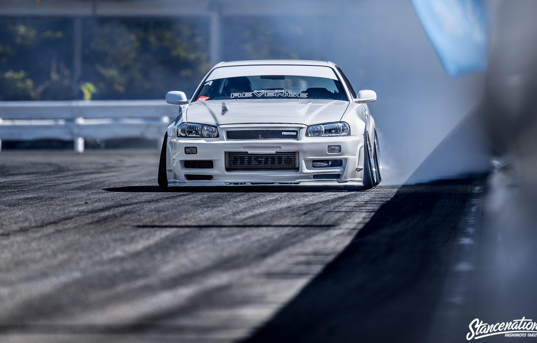Photo wallpaper GTR, Japan, Car, White, Nissan Skyline, Tuning, R34