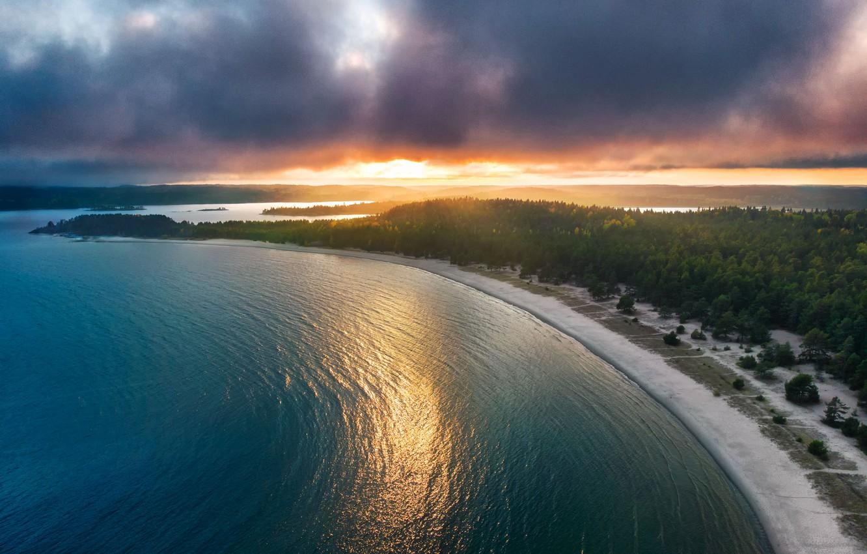 Photo wallpaper forest, beach, sunset, lake, Russia, Lake Ladoga, Karelia, Yuri Stolypin, Island Kajosaari, National Park Ladoga …