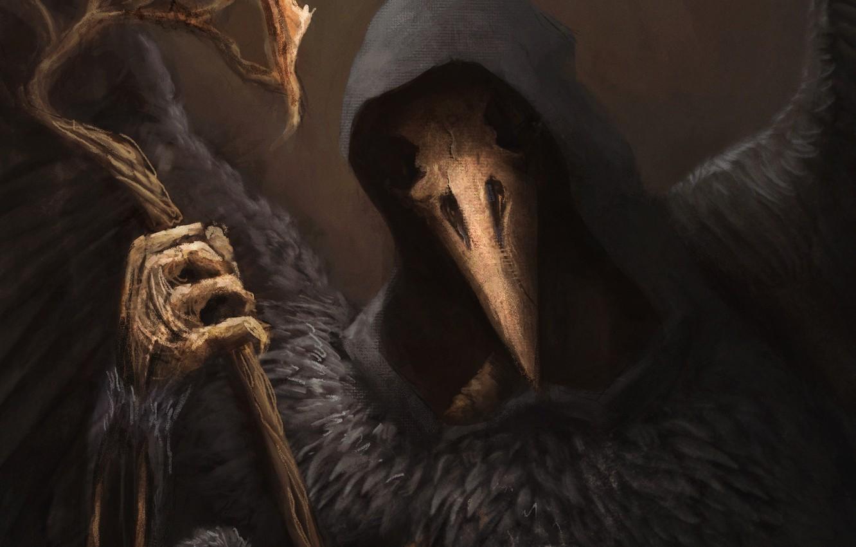 Photo wallpaper fantasy, art, skeleton, hood, Raven, Raven Lord