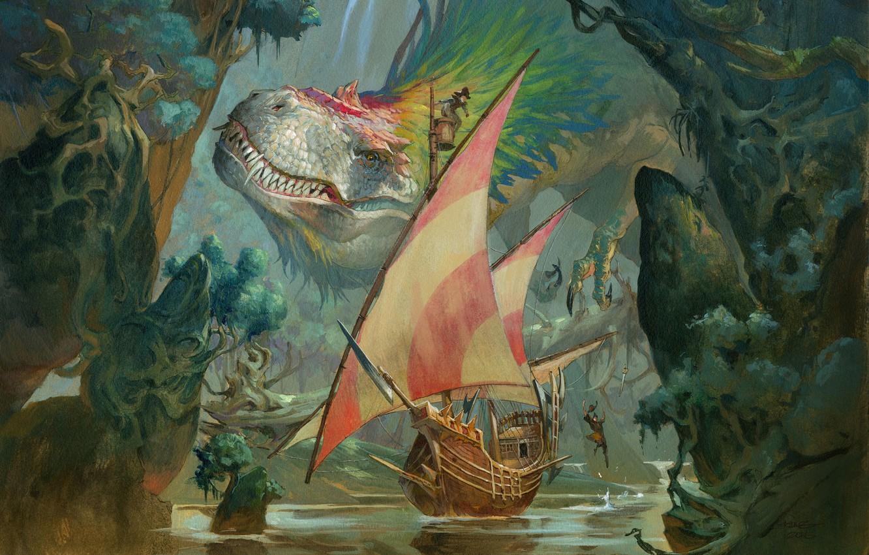 Photo wallpaper Monster, Ship, Lizard, Dinosaur, Art, Fiction, Magic the Gathering, Jesper Ejsing, by Jesper Ejsing, Colossal ...
