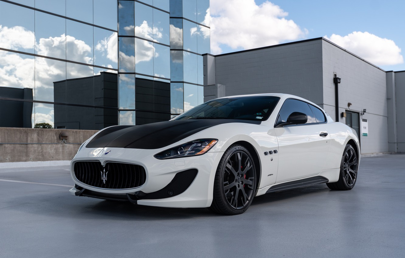 Photo wallpaper white, maserati, granturismo, road