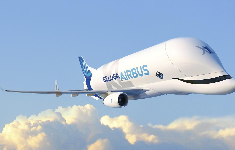 Photo wallpaper the plane, Wings, the plane, Cargo, Airbus, Beluga, A300, Airbus Beluga, Super Transporter, Beluga XL, …