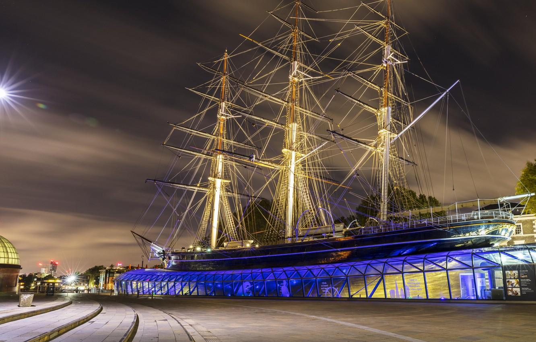 Photo wallpaper photo, England, London, Night, The city, Museum, Ship, Sailboat, Cutty Sark Museum
