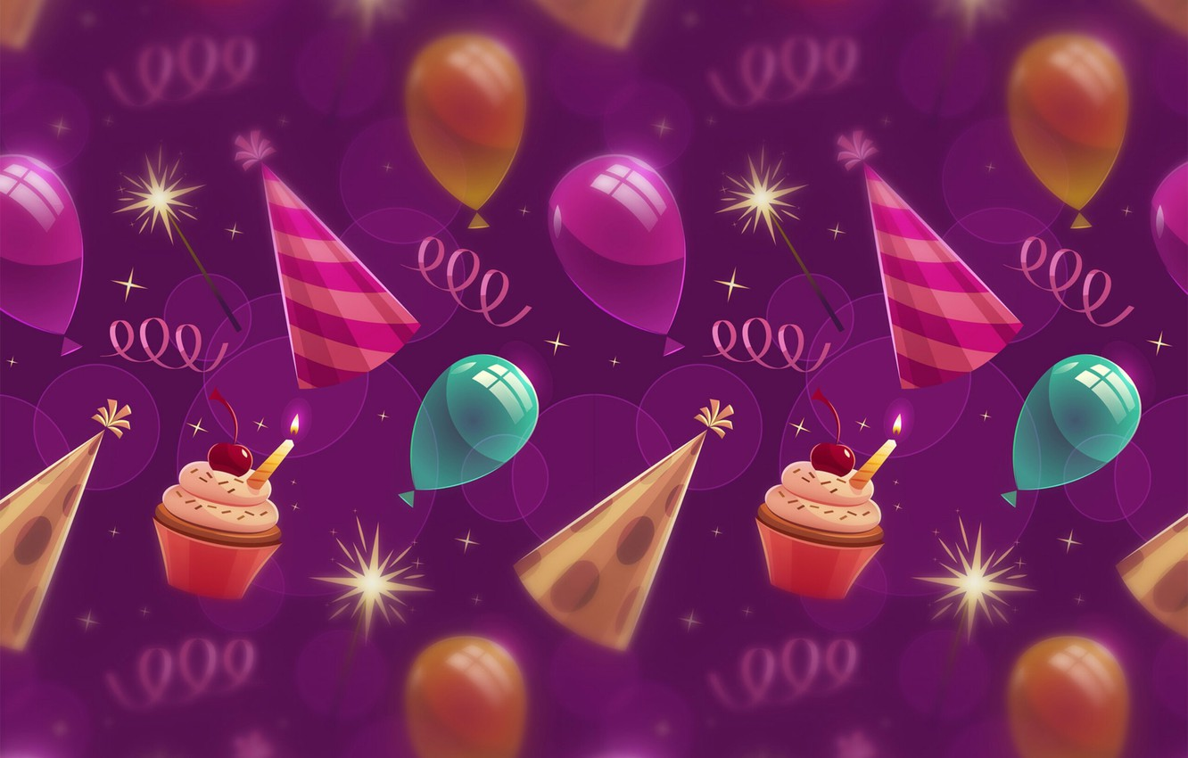 Photo wallpaper background, texture, background, cupcakes, balloons, Birthday, cupcakes