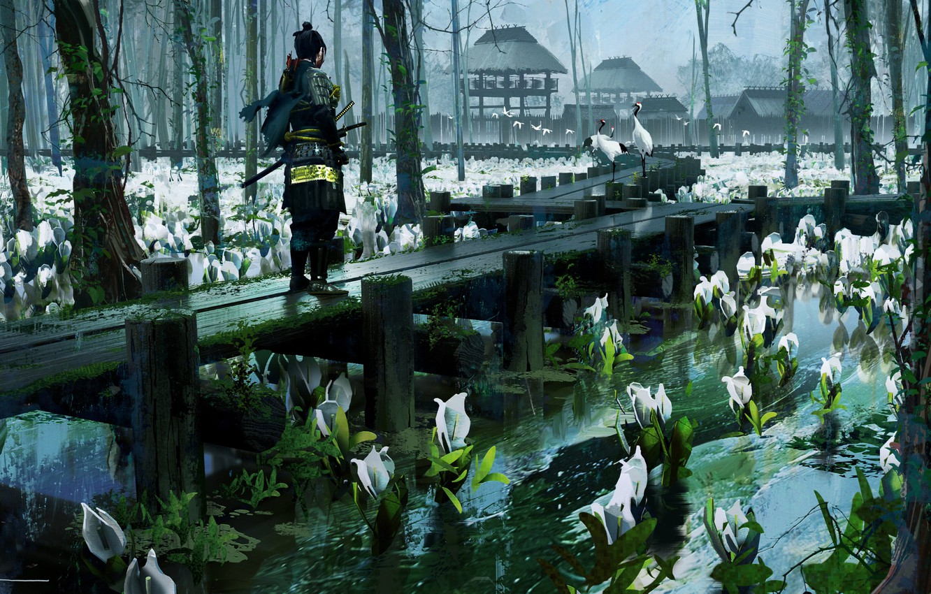 Photo wallpaper pond, armor, samurai, water lilies, bridges, cranes, cloudy day, Ghost of Tsushima, The Ghost Of …