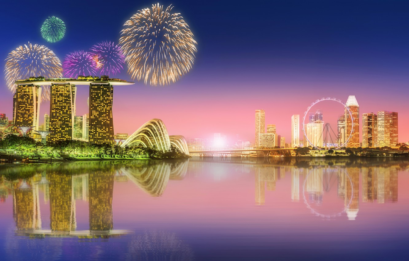 Photo wallpaper the city, lights, home, salute, fireworks