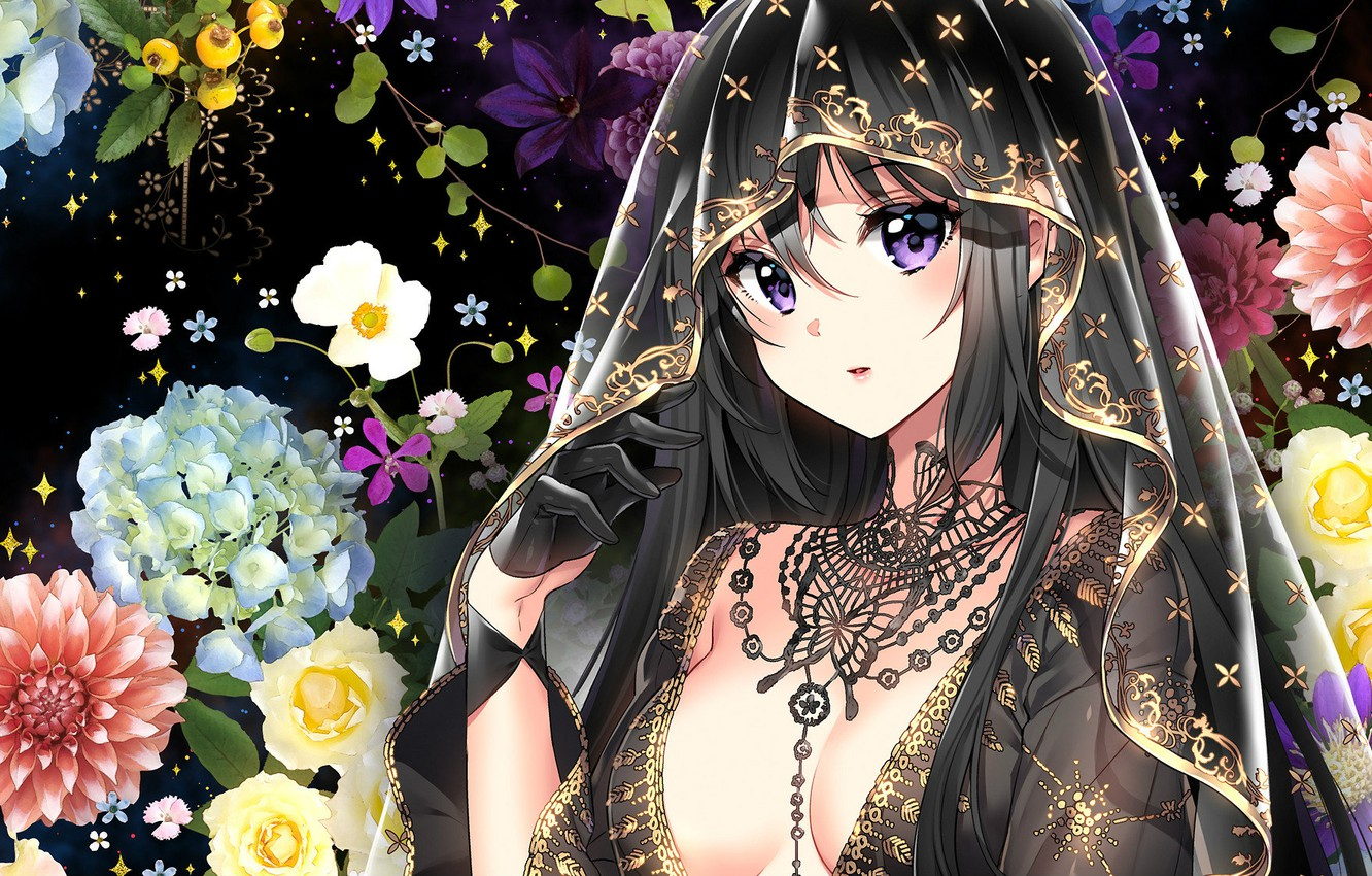 Photo wallpaper look, face, roses, necklace, sorceress, glove, art, hydrangea, dahlias, transparent fabric, Nardack