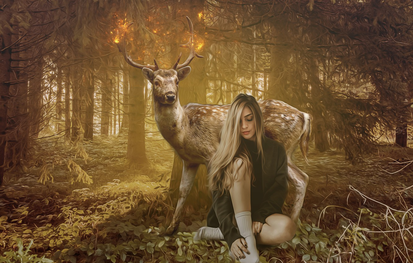 Photo wallpaper forest, leaves, girl, trees, branches, pose, lights, fantasy, fire, feet, glade, treatment, deer, fantasy, art, …