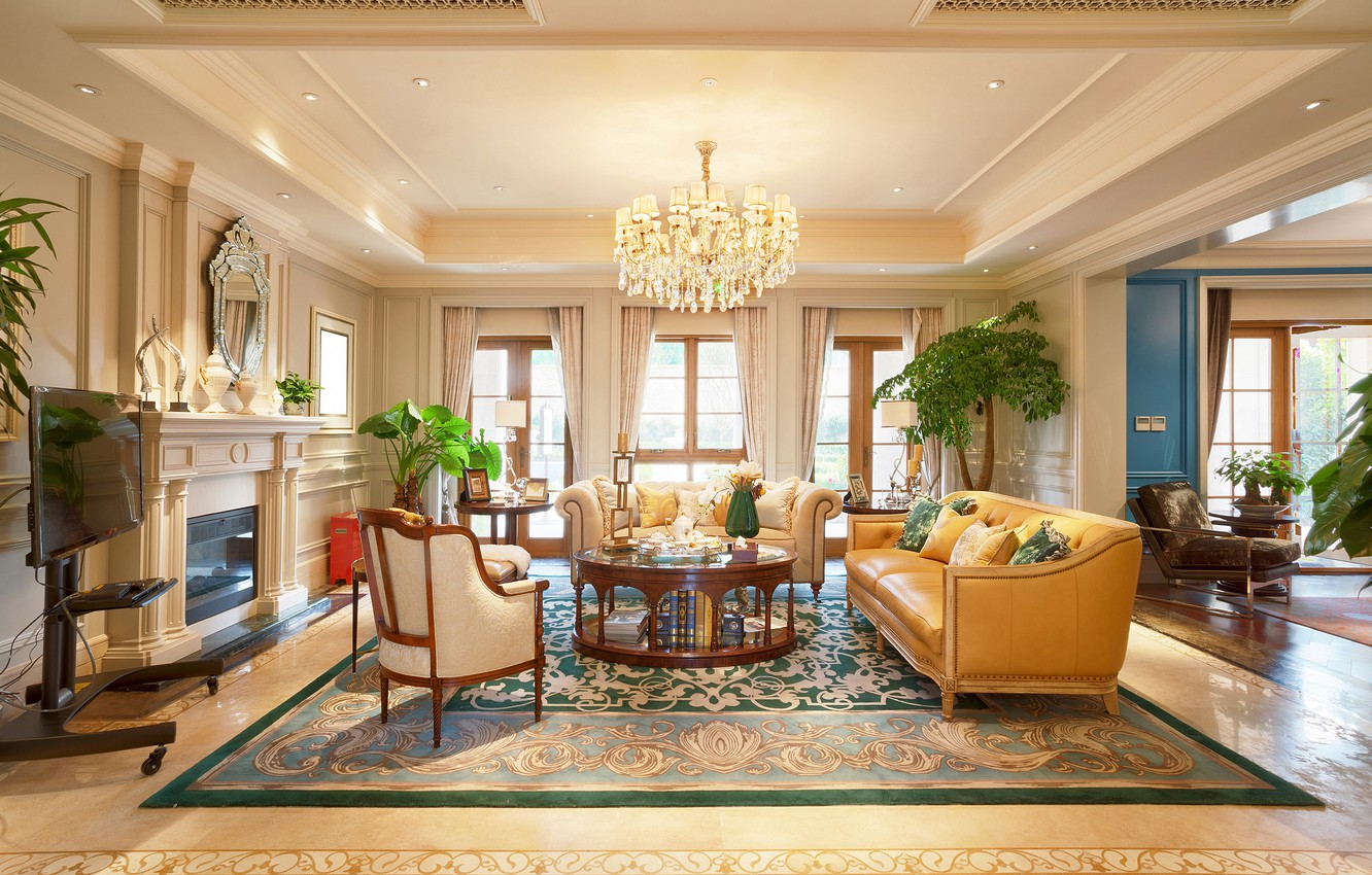 Photo wallpaper flowers, design, interior, chair, chandelier, fireplace, table, sofas, living room